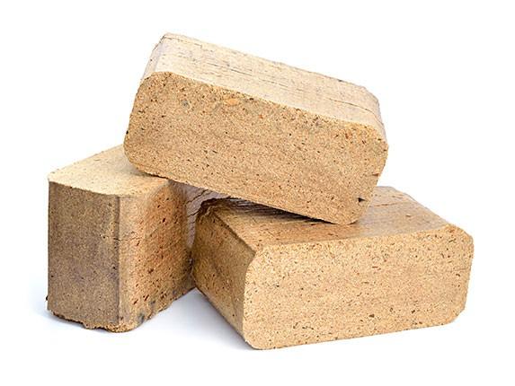 Holzbriketts aus Nadelholz und Birke, eckig